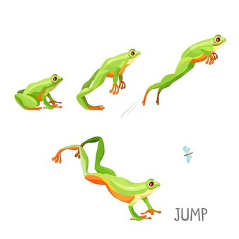 Bright colored frog jumping cartoon