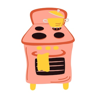 Яркая газовая плита с кастрюлей. приготовление пищи и кипячение воды на кухонных газовых плитах. приготовление пищи в наборе вектора огня.