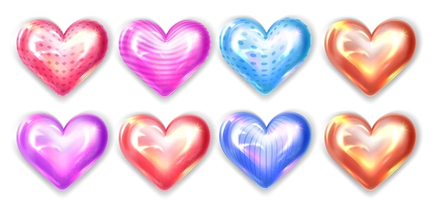 Bright colored hearts isolated on white