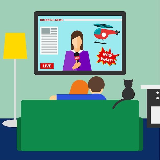 방에 있는 소파에 앉아 tv 속 속보를 보고 있는 커플과 고양이가 있는 트렌디한 플랫 스타일의 밝은 색상 그림