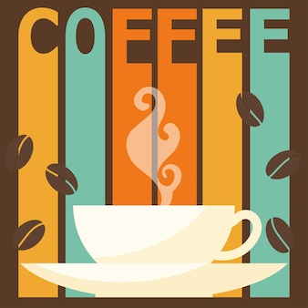 Яркая цветная иллюстрация на тему «время кофе» для использования в дизайне открытки, приглашения, плаката, баннера, плаката, меню или обложки рекламного щита.