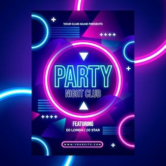 밝은 색의 네온 파티 포스터