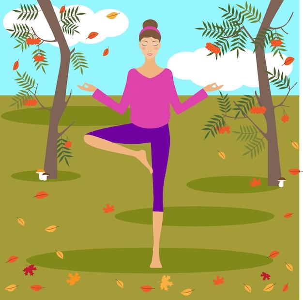가을 공원에서 요가를 하는 아름다운 어린 소녀와 함께 밝은 색의 그림