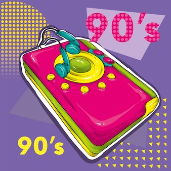 Zineカルチャースタイルの明るい色のポスター。ヴィンテージ録音機器、ラジカセ。