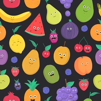 Bright colored seamless pattern with cute fresh exotic tropical fruits and berries with happy smiling faces on dark background.