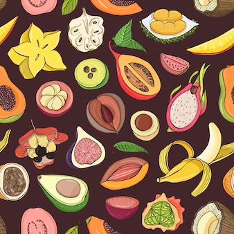 Bright colored seamless pattern with edible fresh juicy exotic tropical fruits on dark background. backdrop with tasty sweet veggie food.