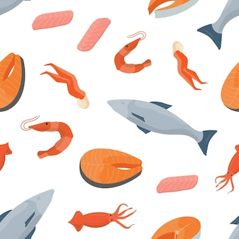 Bright colored seamless pattern with fish, salmon steaks, shrimps, squids and other types of seafood on white background