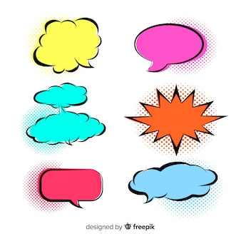 Bright colored speech bubbles variety