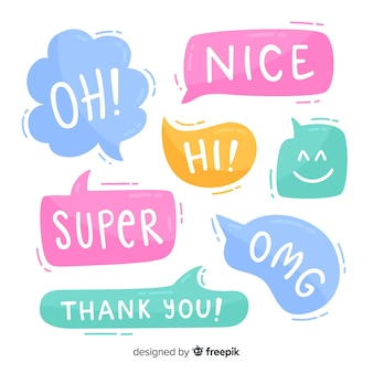 Bright colored speech bubbles with expressions