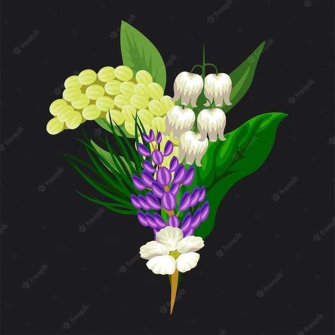 꽃의 밝고 화려하고 귀여운 열대 꽃다발