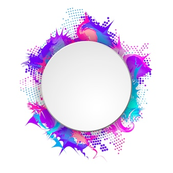 Bright and colorful banner with round frame. abstract halftone