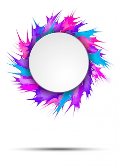 Bright and colorful banner with round frame on vivid paint splashes