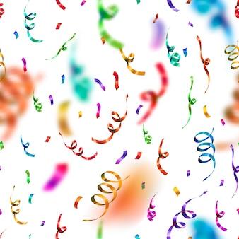 Яркие красочные конфетти и серпантин на белом фоне, юбилей вечеринка бесшовные модели