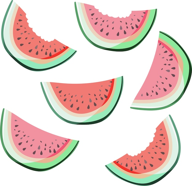 Bright colorful delicious tasty yummy red summer fresh dessert slices of watermelon patter