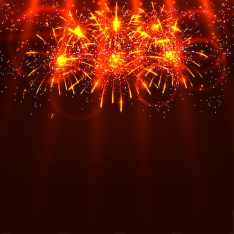 Bright colorful fireworks and rays on a red background. holiday card. vector illustration