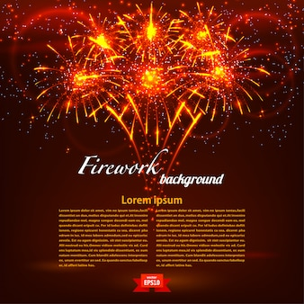 Bright colorful fireworks on a red background template. holiday card. vector illustration