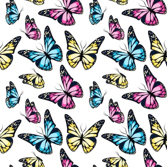 Bright colorful flying butterflies seamless pattern