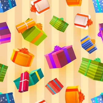 Bright colorful gift boxes falling