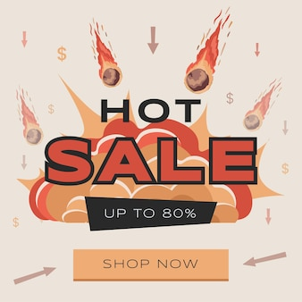 Bright and colorful hot sale advertisement flyer design with text