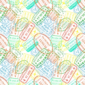 Bright colorful immigration stamps on white background, seamless pattern