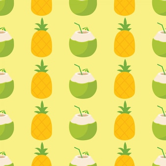 Bright and colorful pineapple and cocktail pattern