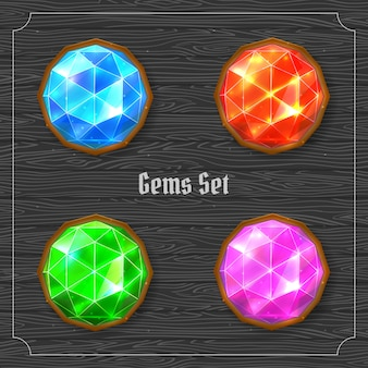 Bright colorful precious gems set. vector illustration