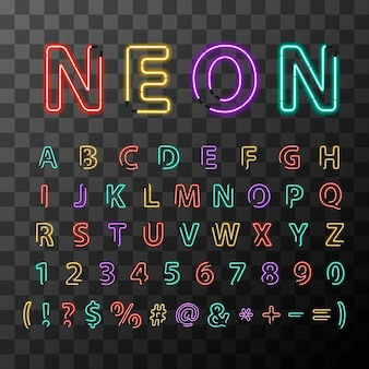 Bright colorful realistic neon letters, full latin alphabet on transparent background