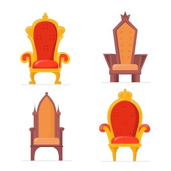 Poltrone reali colorate luminose o collezione di immagini piatte di troni