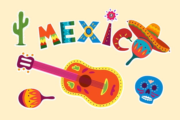 Bright colorful stylish traditional mexican vector illustration about mexico decorative symbol