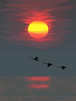 飛んでいる鳥のシルエットと海に沈む夕日