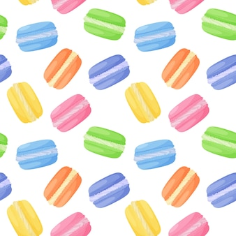 Bright colorful sweet macaroon cakes seamless pattern on white background