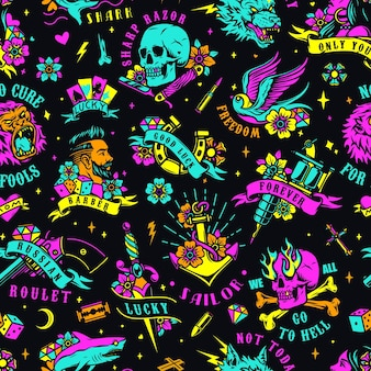 Bright colorful tattoos seamless pattern