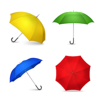 Bright colorful umbrellas 4 realistic images