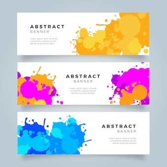 Bright Colorful Watercolor Slash Banner Collection