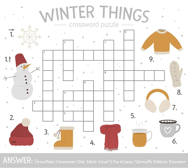 Bright and colorful winter quiz for children.