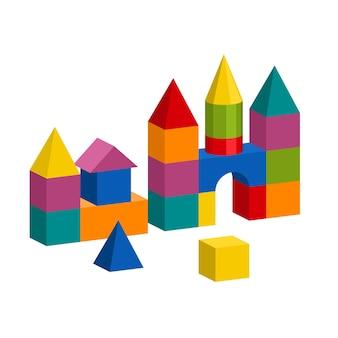 밝고 다채로운 나무 블록 장난감. 벽돌 어린이 건물 타워, 성, 집. 볼륨 스타일 그림 흰색 배경에 고립입니다.
