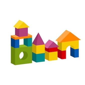 明るくカラフルな木製ブロックのおもちゃ。レンガの子供たちの建物の塔、城、家。白い背景で隔離のボリュームスタイルのイラスト。