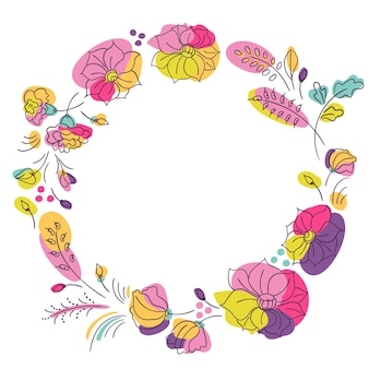 Bright colors floral summer wreath. round frame with neon color flowers. white background
