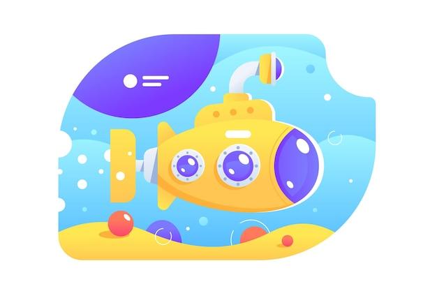 Яркие красочные иллюстрации подводной лодки. желтая подводная лодка с перископом под водой плоский стиль. морская жизнь. концепция ландшафта океана. изолированные