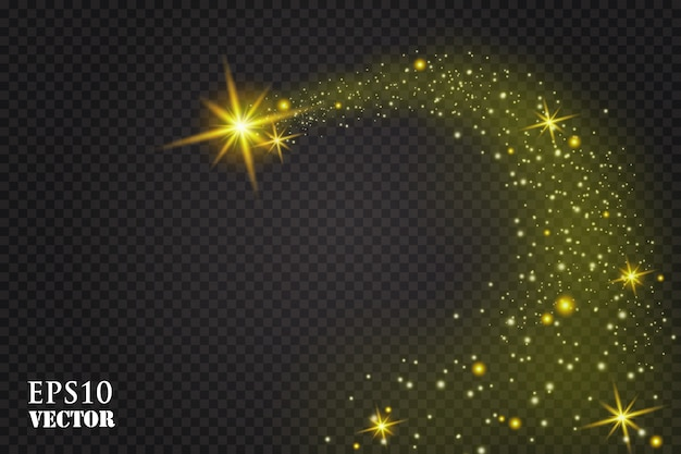A bright comet with . falling star. glow light effect.  illustration