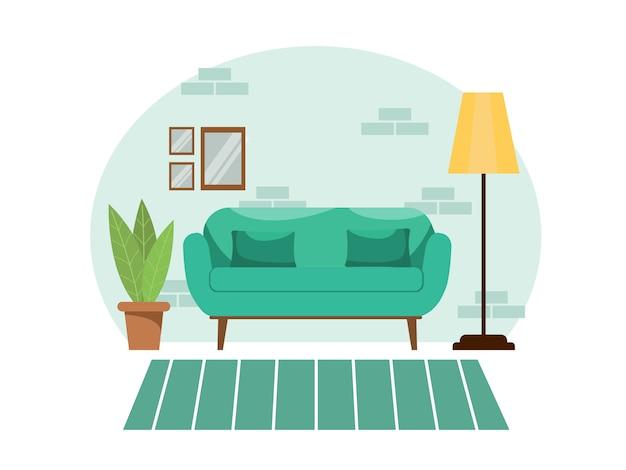 孤立した白地に緑のパステルカラーの明るく快適な居心地の良いリビングルームのインテリア。花のソファーと床ランプのモダンなフラットデザインスタイル。ストックイラスト。