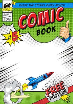 Bright comic book cover template