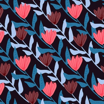 Bright contrast flower silhouettes pattern. pink tulip buds with blue stems on black background.