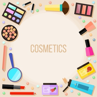 Bright cosmetic product isolated on beige. cosmetic and beauty concept theme card.