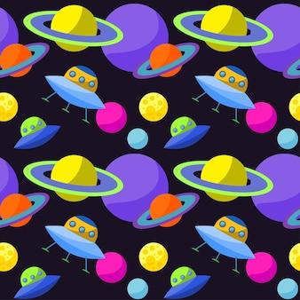 재미있는 만화 ufo와 행성이 있는 밝은 우주 원활한 패턴 배경 디자인에 사용할 수 있는 열린 공간