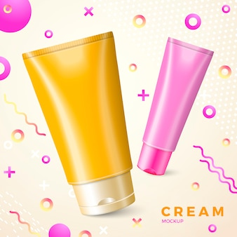 Bright cream package mockup  abstract memphis style radiant gradient liquid and geometric shapes.