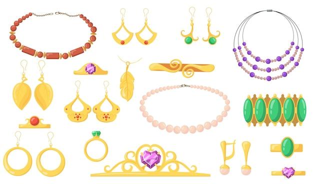 明るいクリエイティブジュエリーフラットイラストコレクション。漫画のイヤリング、ブレスレット、金の指輪、宝石でぶら下がっている孤立したイラスト
