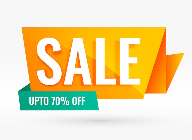 Bright creative origami style sale banner