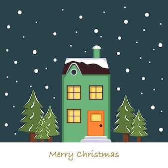 Bright cute home on christmas card. winter landscape with snowflakes and fir trees on green background of night sky. happy new year greeting postcard