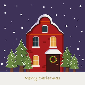 Bright cute red home on christmas card winter landscape with snowflakes and fir trees